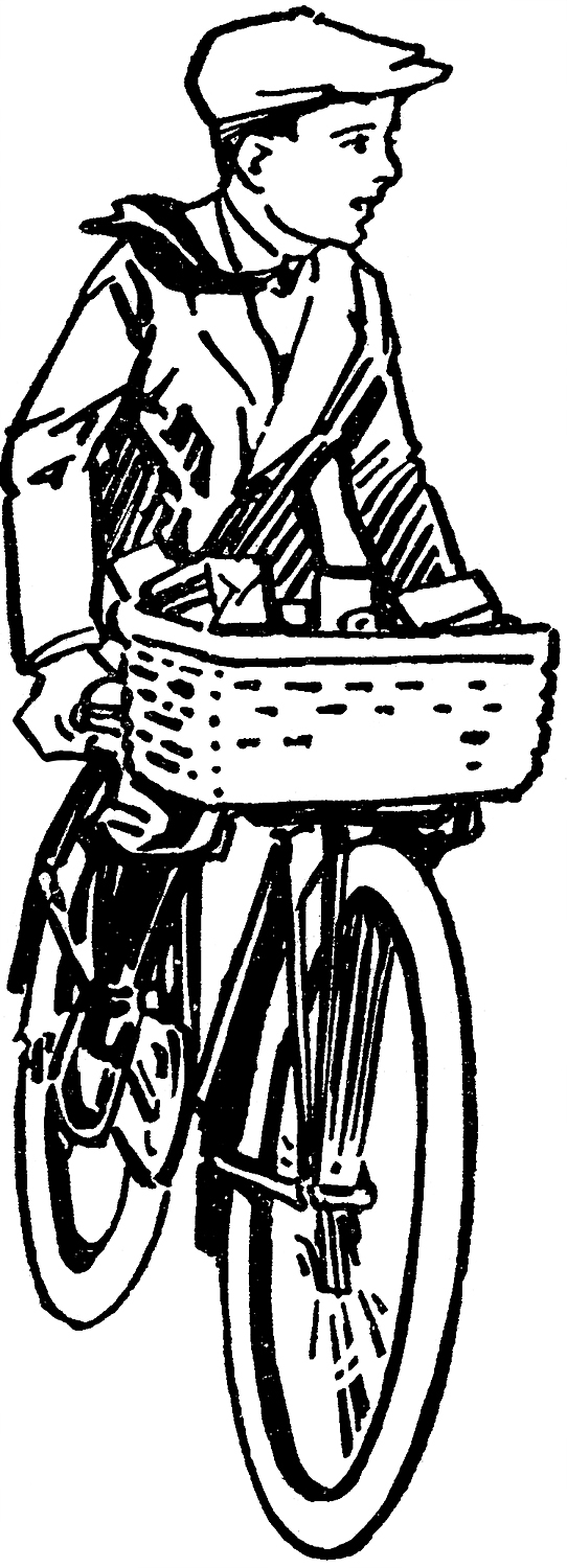 Boy Riding Bicycle with Basket Image
