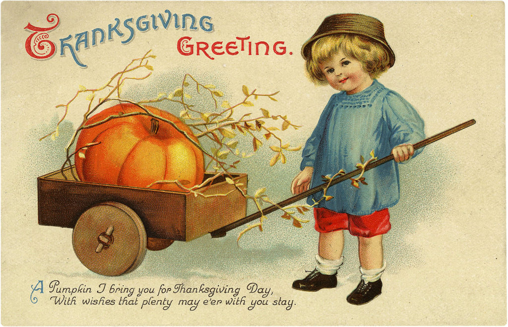 Cute Retro Thanksgiving Child Pulling Wagon Graphic!