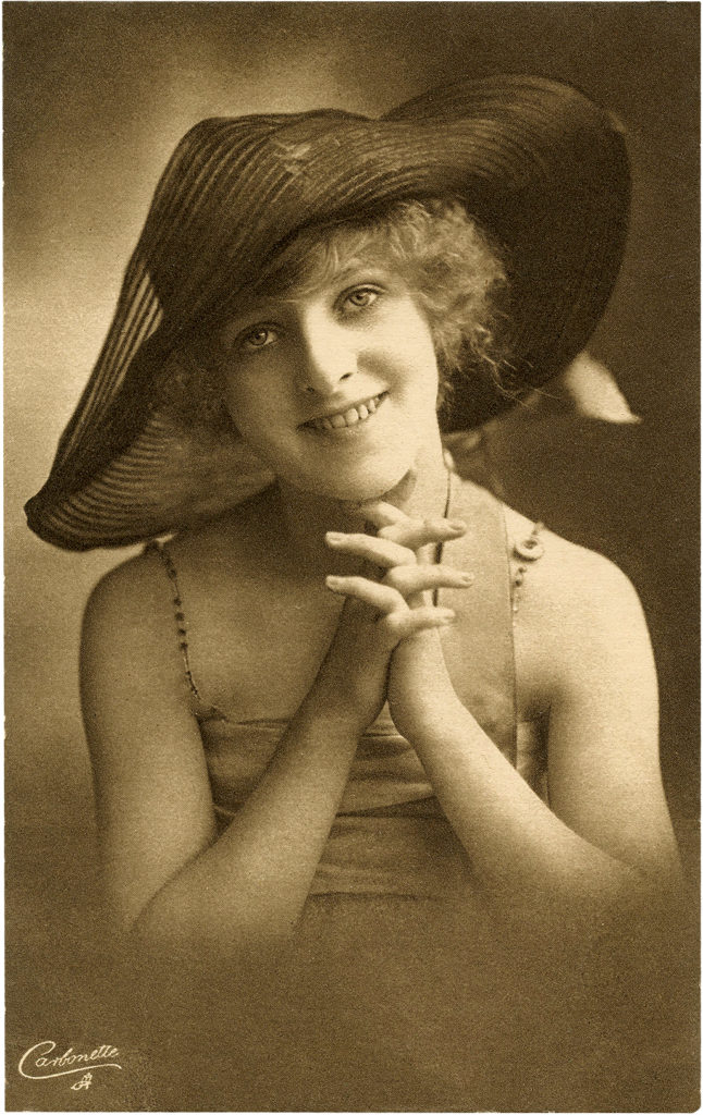 Old Photo Cute Girl in Wide Brim Hat Postcard Image!