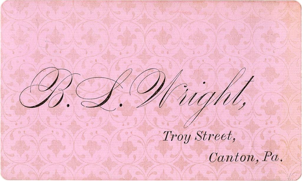 Vintage Elegant Pink Calling Card Graphic!