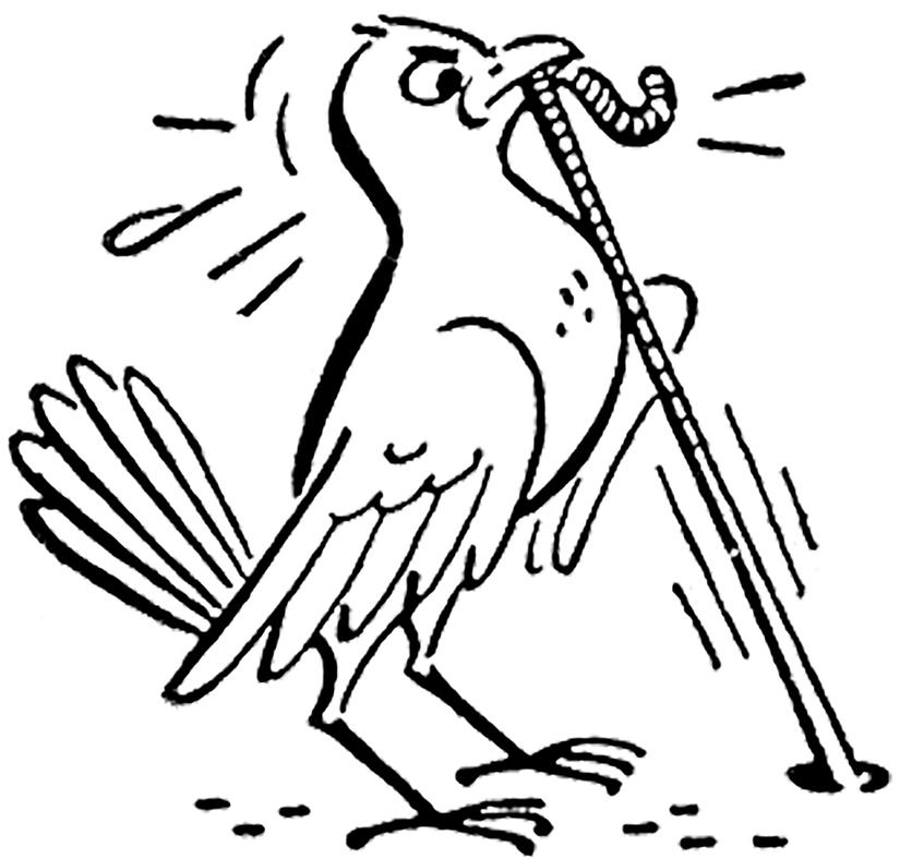 2 Cute Retro Bird And Worm Clip Art Images!