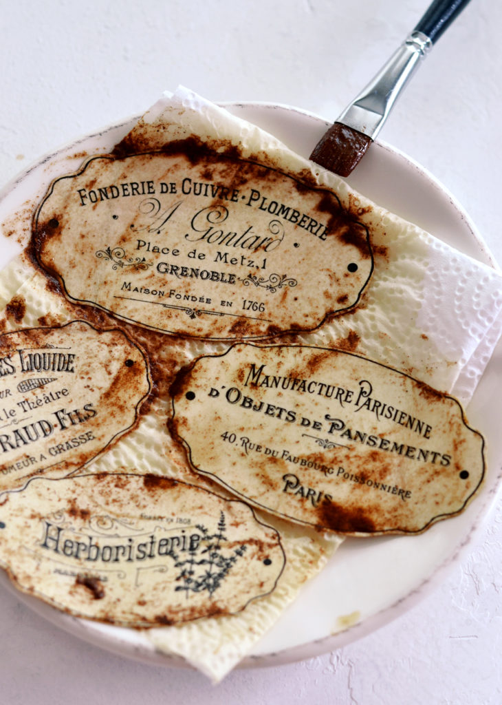 Learn how to make DIY Faux Rusted French Labels using 3 key ingredients ... from your kitchen!
