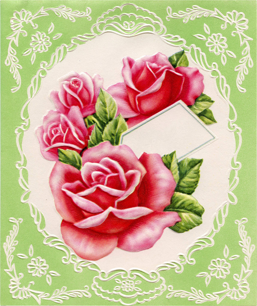 Green Floral Graphic with Roses