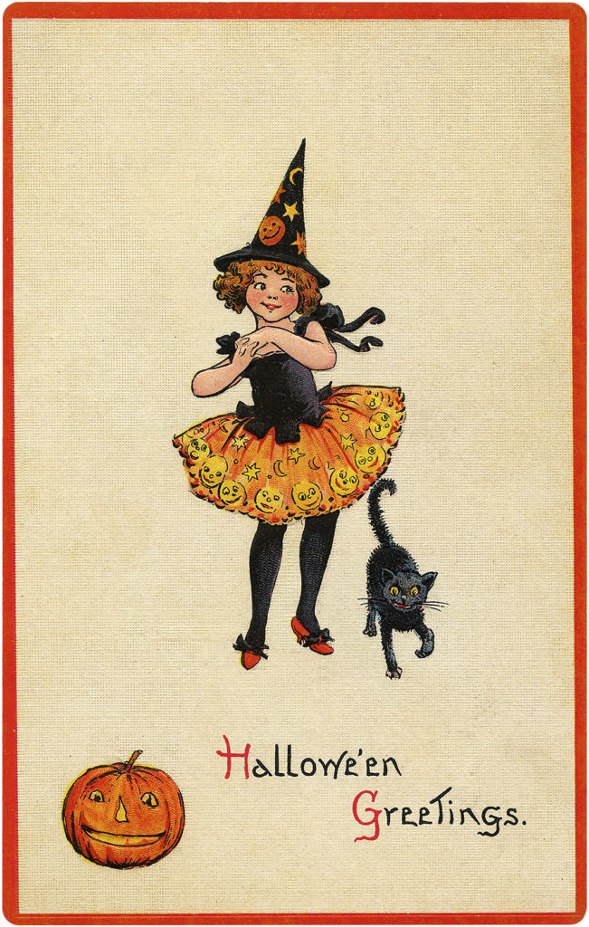 Cutest Vintage Witch Costume Halloween Postcard!