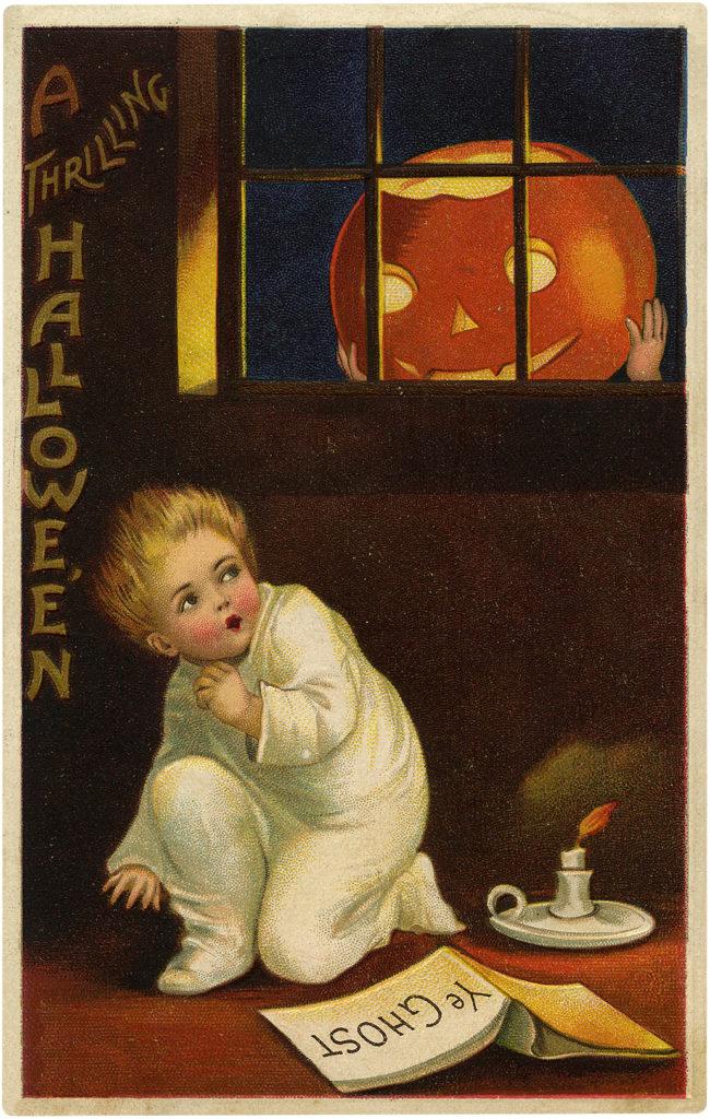 Vintage Frightened Child Sees Huge Jack-O-Lantern Postcard!