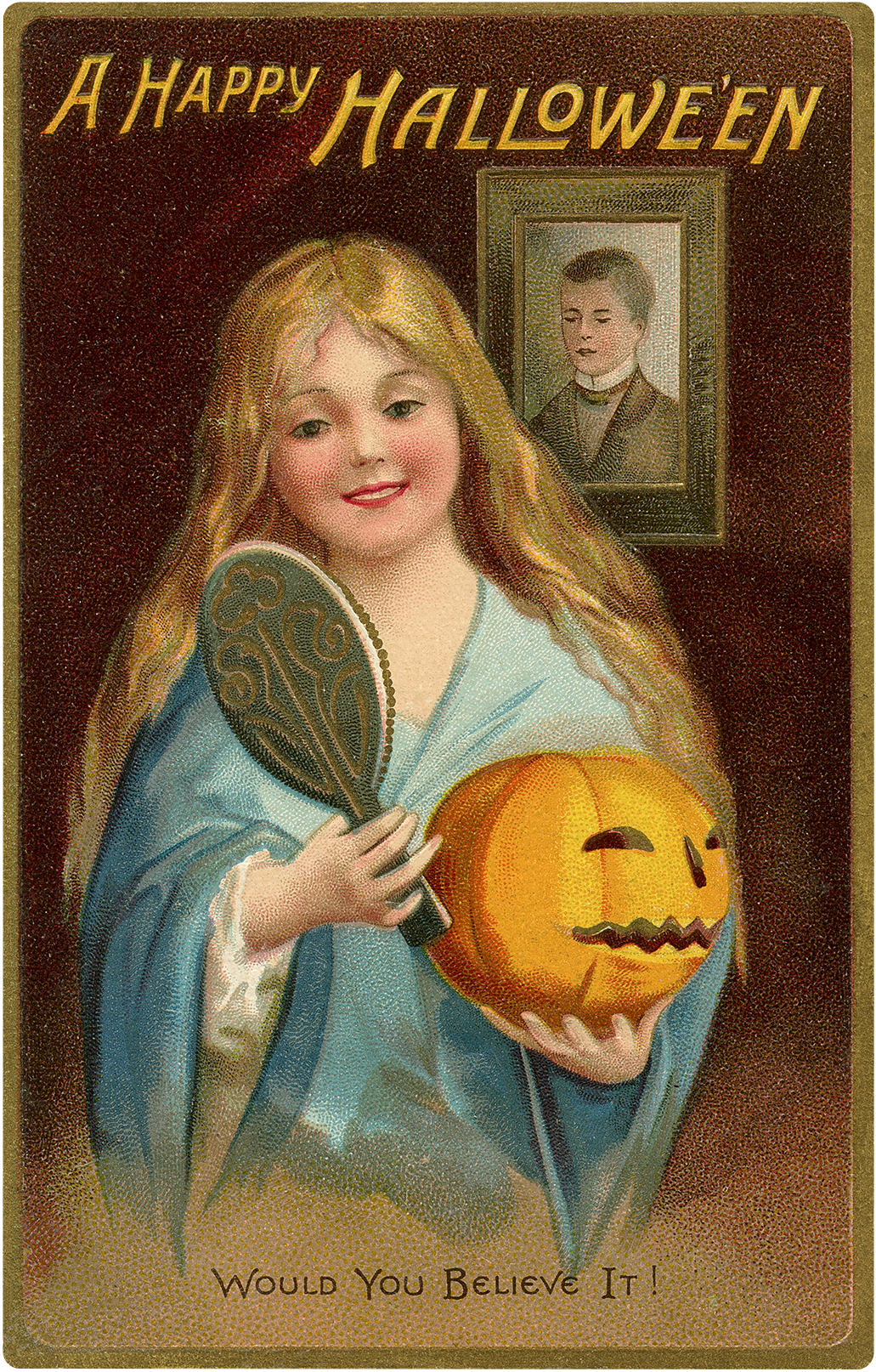 Happy Halloween Cute Girl Holding Pumpkin Postcard!