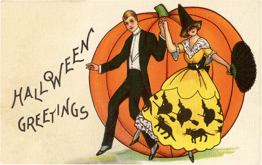 Whimsical Vintage Dancing Halloween Couple Graphic!