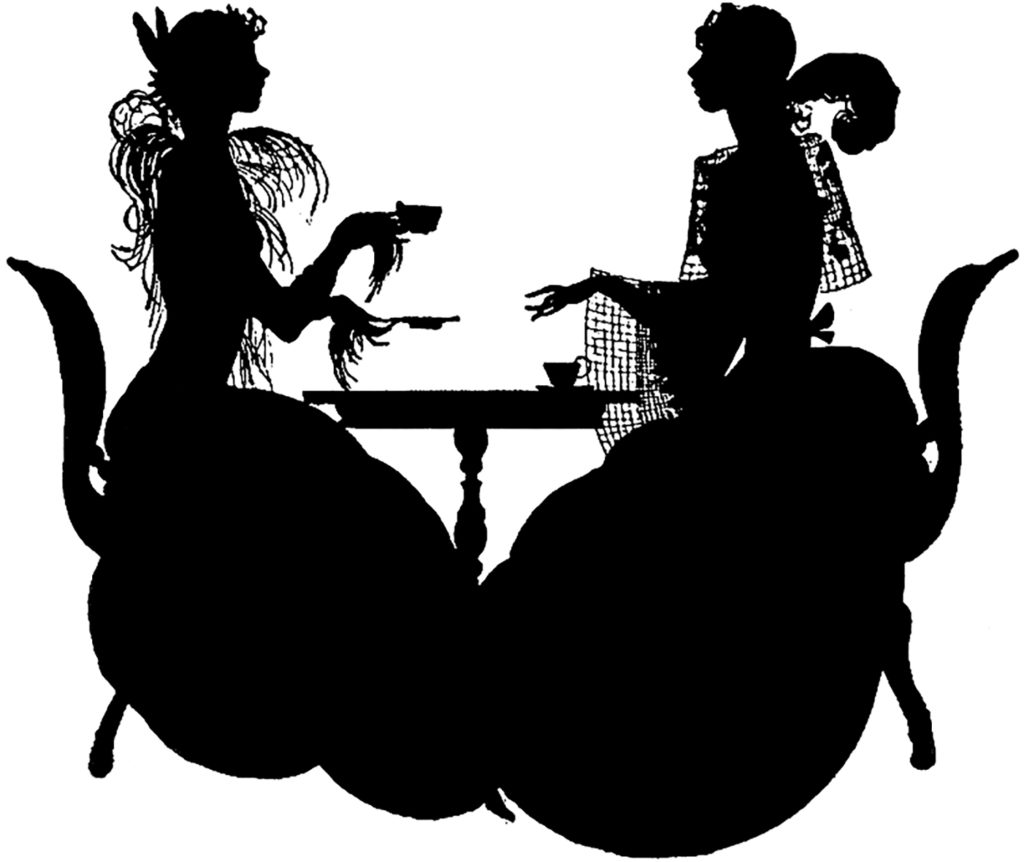 Stunning Vintage Silhouette Elegant Ladies at Tea Image!