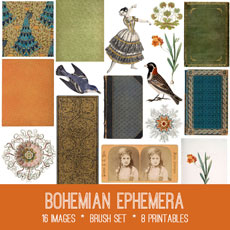 Bohemian Ephemera Images Kit! Graphics Fairy Premium Membership