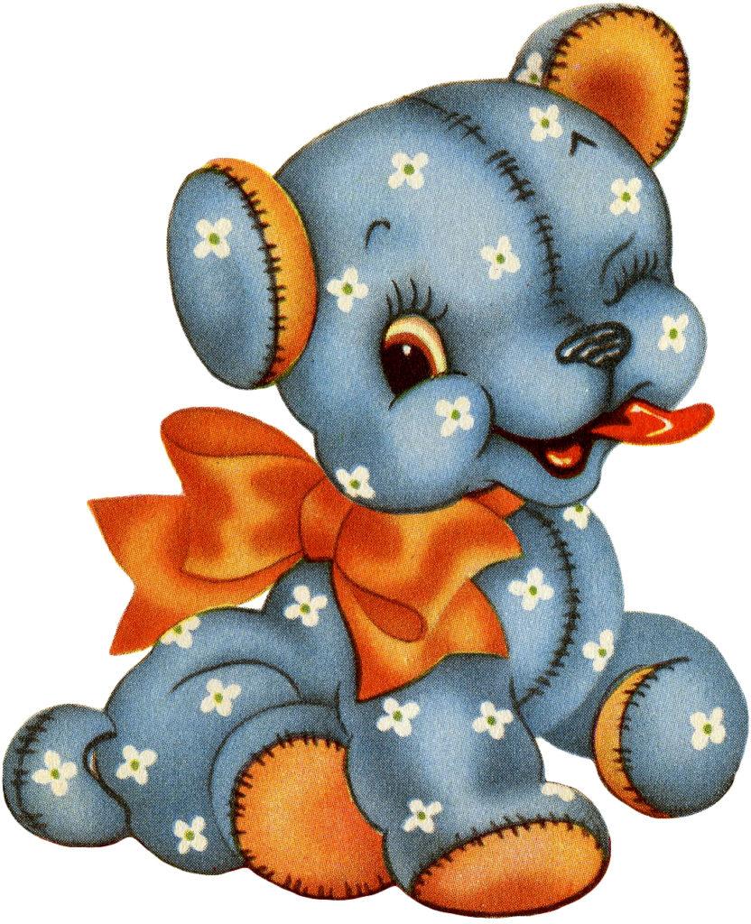 Retro Kitsch Calico Stuffed Animal Illustration