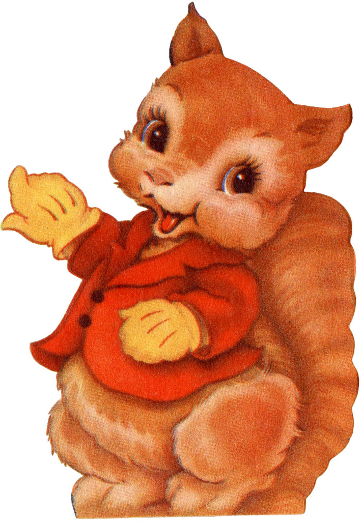 Cute Retro Squirrel in Gloves and Jacket Image!