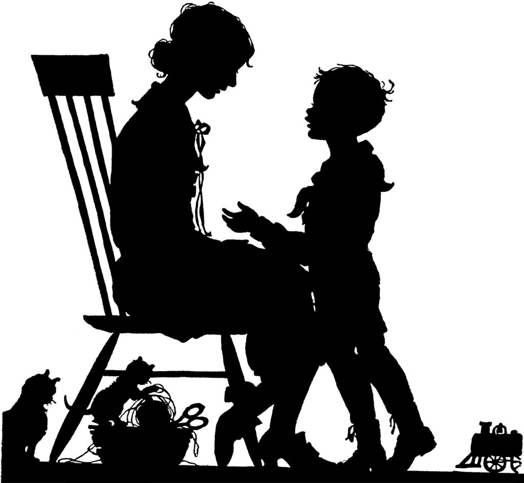 Delightful Vintage Mother and Son Silhouette Image!
