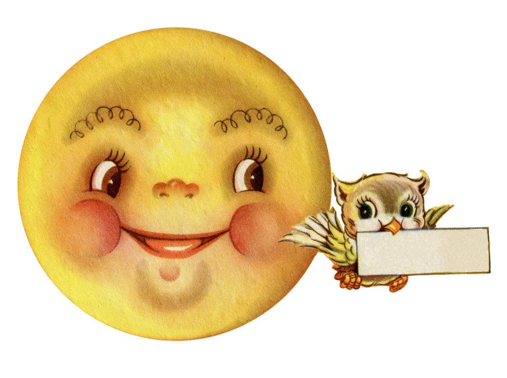Retro Owl and Moon Image