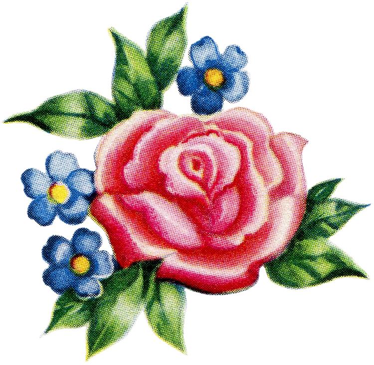 Pretty Retro 1950s Pink Rose Graphic!