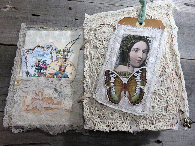 Junk Journal with Lace and Butterfly
