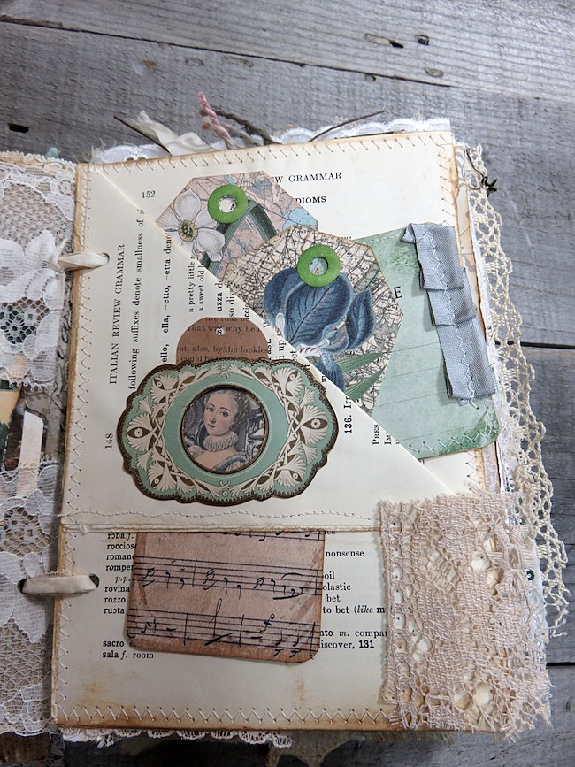 Junk Journal Pages with Romantic Style