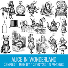Alice in Wonderland Images Kit! Graphics Fairy Premium Membership