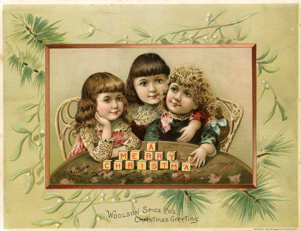 Christmas Children with Blocks Woolson Spice