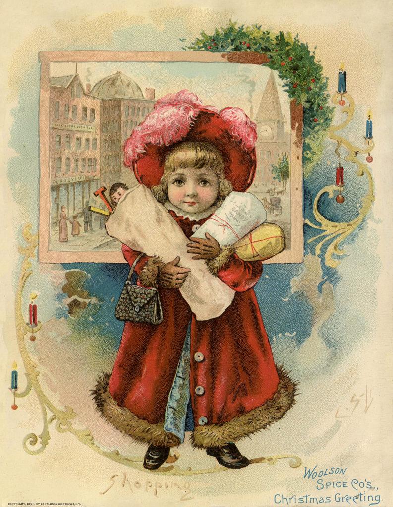 Vintage Christmas Shopping Image