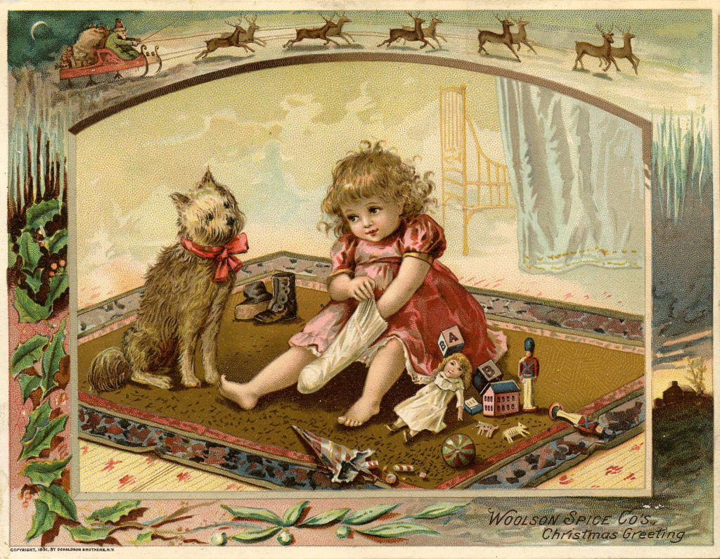 Victorian Christmas Child with Dog and Toys