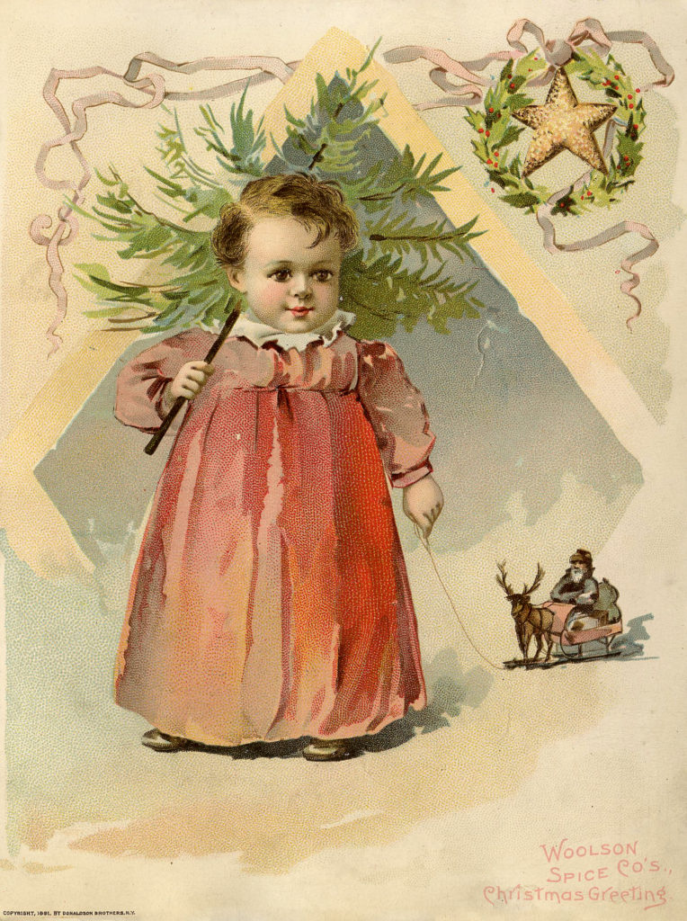 Victorian Child with Christmas Tree Picture