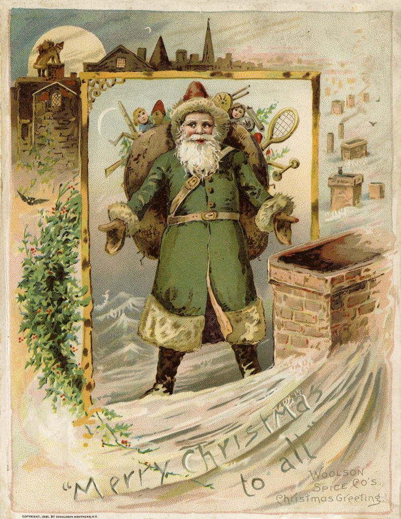 Christmas Victorian Santa Claus in Green Robe