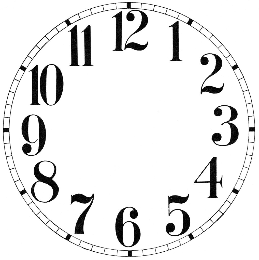 Clock Face Image Black and White