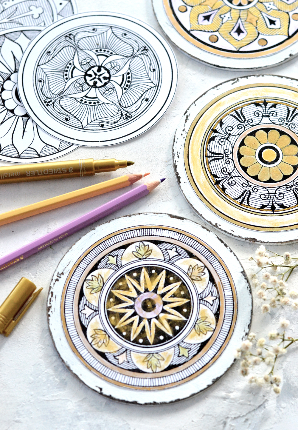 DIY Adult Coloring Coasters