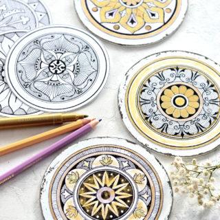 DIY Adult Coloring Coasters + free printable!