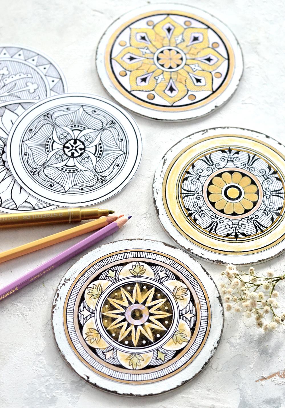 DIY Antique Adult Coloring Medallions