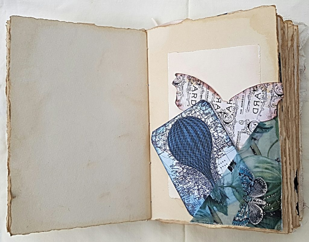 Junk Journal Pocket with Mini Accordion Book and Butterfly
