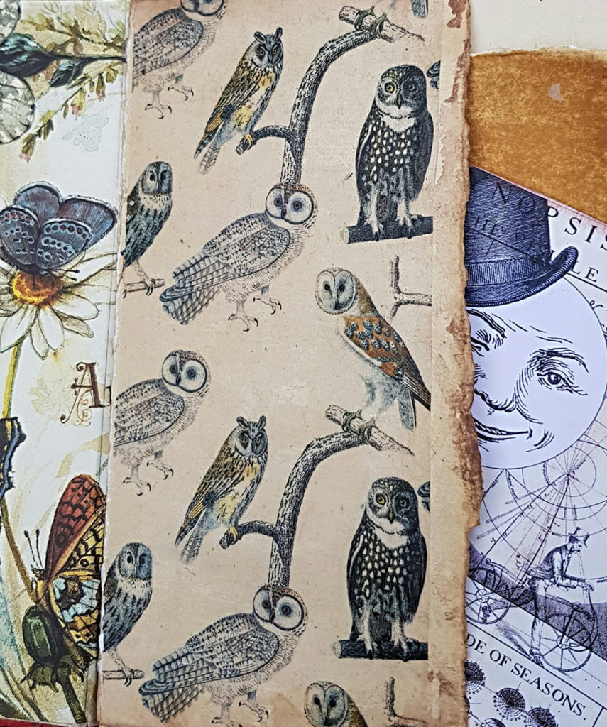 Junk Journal Page of Owls Endpaper by Kelly Boler from Book and Paper Arts