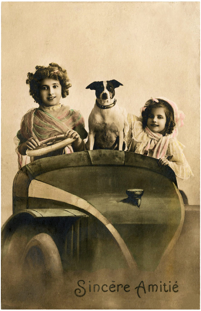 Old Photo Kids with Dog and Car