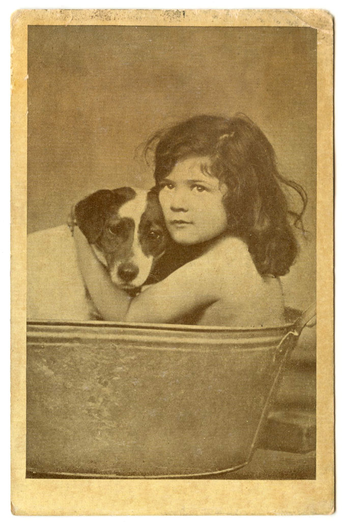 Old Photo Girl with Dog in Bath