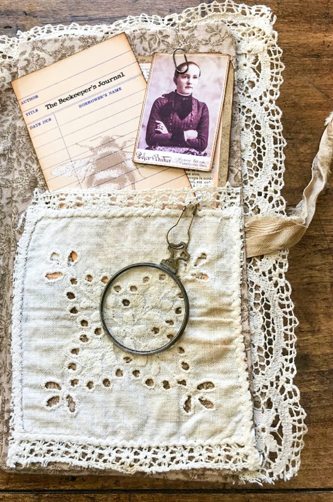Beekeeper's Junk Journal library card and lace