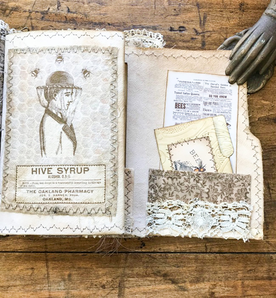 Beekeeper's Junk Journal sewn coffee stained papers