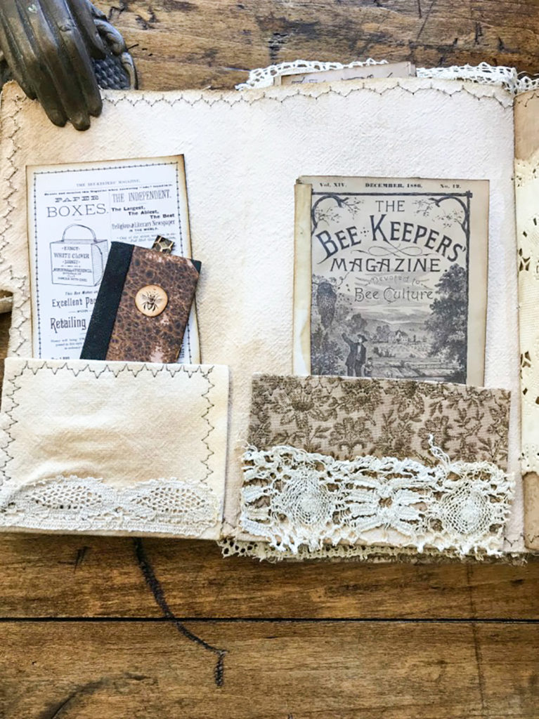 Beekeeper's Junk Journal tiny book and magazine in fabric pockets