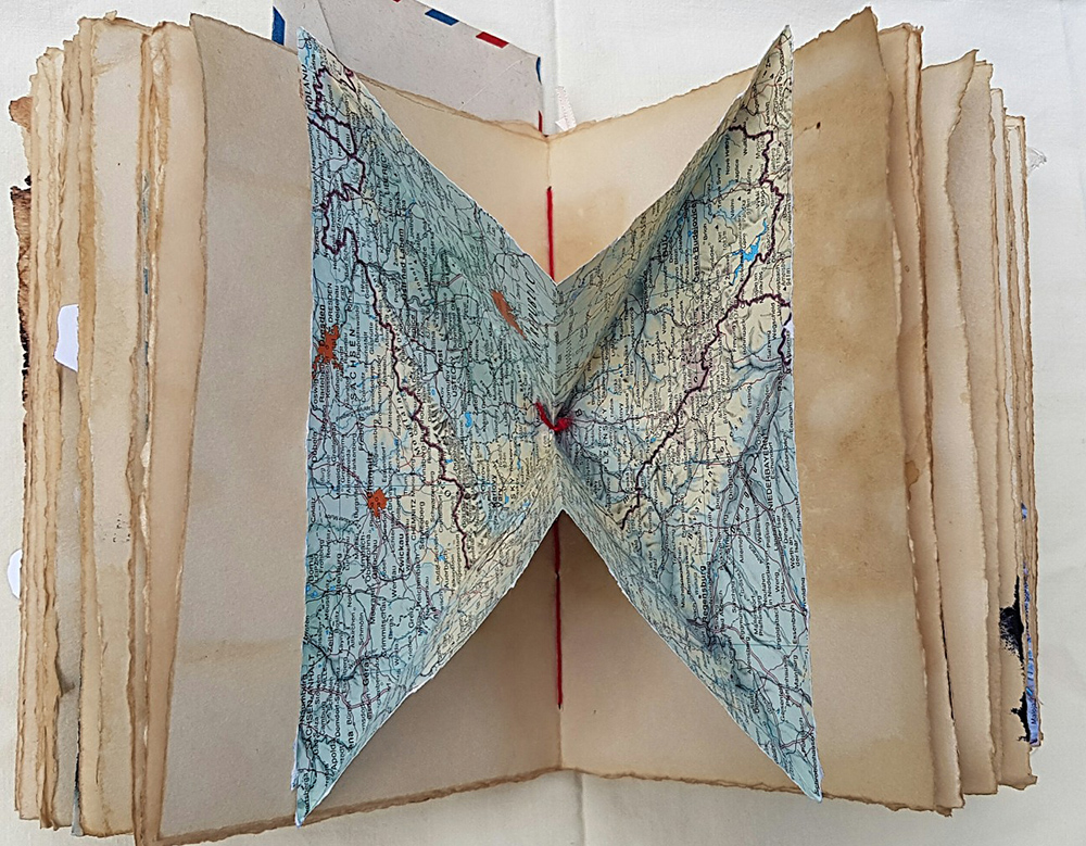 Secret Pop-up Pocket Made from Vintage Map with Turkish Map Fold Technique