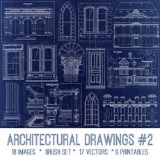 Architectural Drawings #2 Images Kit! Graphics Fairy Premium Membership