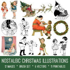 Nostalgic Christmas Illustrations Images Kit! Graphics Fairy Premium Membership