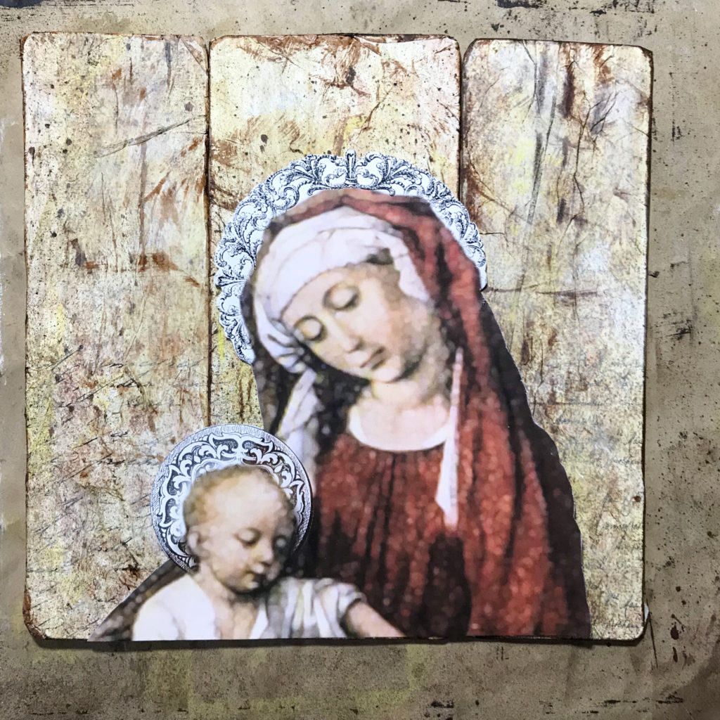 Panels Dry Fit the Madonna Image to the Background