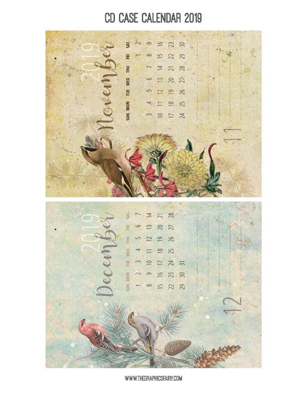 free printable calendar 2019  u2013 cd case calendar
