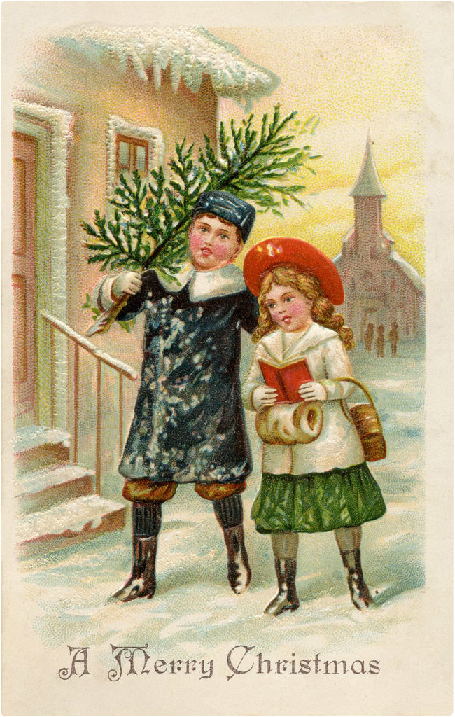 Christmas Children in Snow Walking on Sidewalk