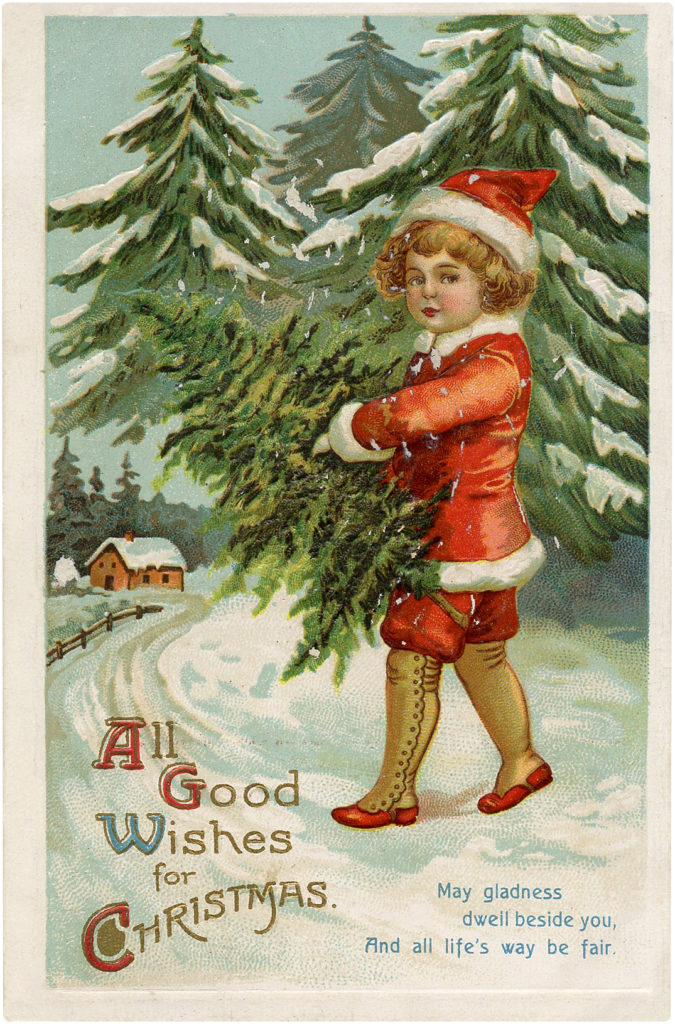 Christmas Children in Snow Postcard Little Boy Carrying Christmas Tree