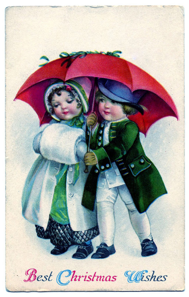 Christmas Kids with Umbrella Image