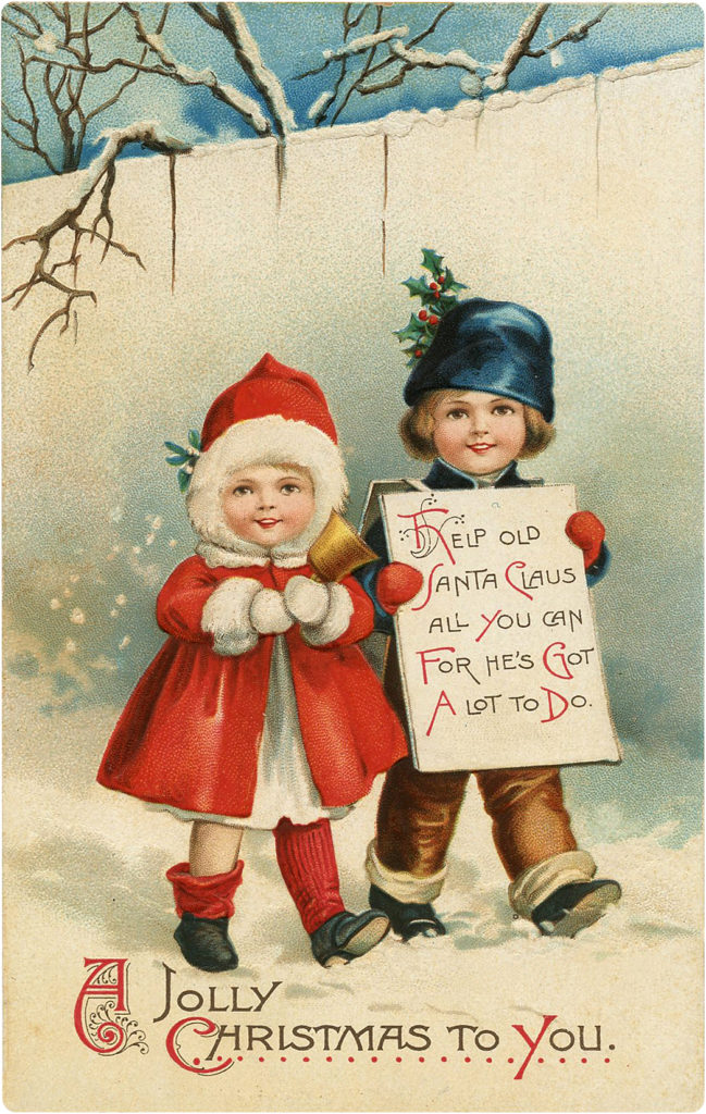 Two Christmas Children in Snow Images with Sign