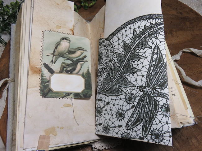 Lace Dragonfly Image Floating Pocket in Traveler's Junk Journal