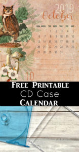 Free Printable Calendar 2019 for CD Case