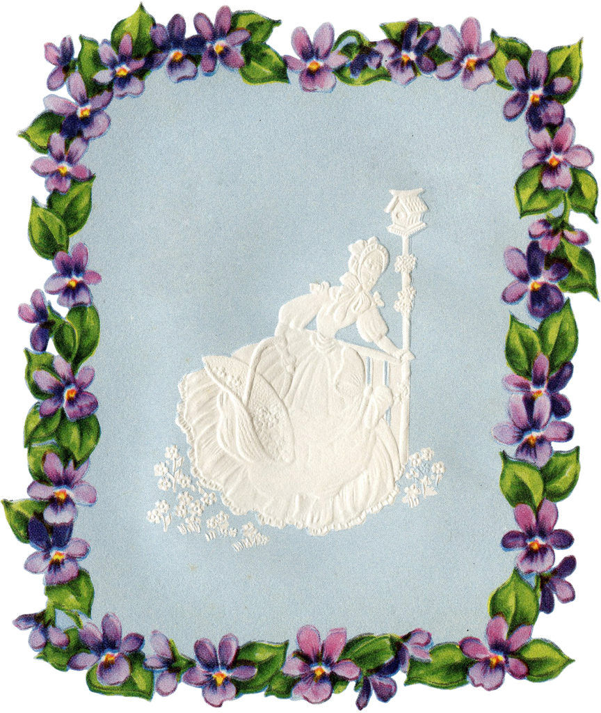 Violets Frame with Cameo