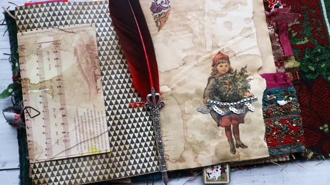 Junk Journal Christmas Scrapbook Spread